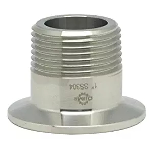 "Tri Clamp Tri Clover Fittings To NPT 1/2"" Male Thread Adaptor SS304 With Groove Milling"